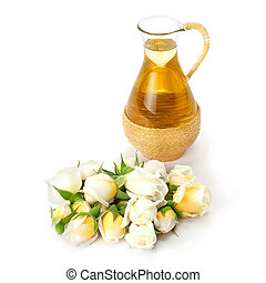 Essential oil with rose flower.