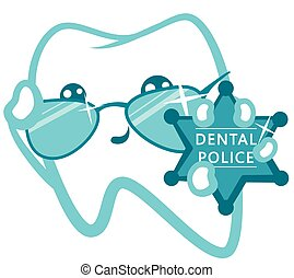 Dental Police. Cop With A Badge. Vector Isolated...