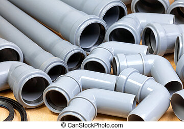 Sewer pipes background - Grey PVC sewer pipes  background
