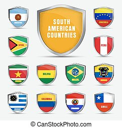 Set shields with flags of the South American countrie - Set...