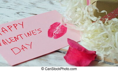 Valentine's day love card on rustic wood background, 4k...