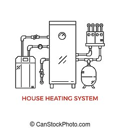 House Heating Vector Illustration - Geothermal House Heating...