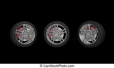 four automobile wheels rush on the road with high speed