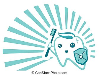 Flat Cute Tooth Character flossing, brushing, rinsing,...