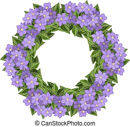 wreath with clematis. - Frame with leaf and clematis for...