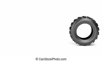 Tractor tire rolling from right to left