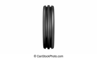 Aircraft or tractor tire, spins on white background