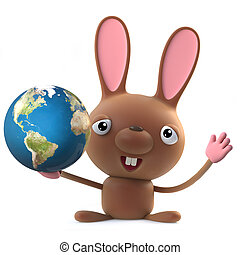 3d Cute cartoon Easter bunny rabbit character holding a globe of the Earth