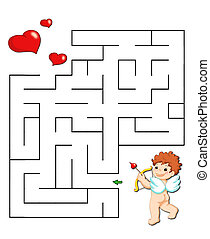the game of the labyrinth, arrow of the love - colored...