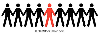 Human figure silhouette with red and black color