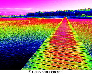 Infrared photo. Empty wooden mole on sea - Ultraviolet scan....