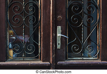 Old Retro Wooden Doors - Details of an old retro wooden...