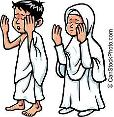 Boy And Girl Hajj Praying Vector Illustration Clipart