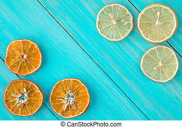 Dried slices of citrus fruits.