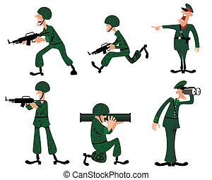 Six military man - Vector illustration of a six military man