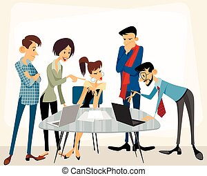 Business team at work - Vector illustration of a business...