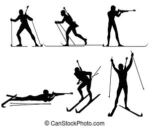 Six biathletes silhouettes - Vector illustration of a six...