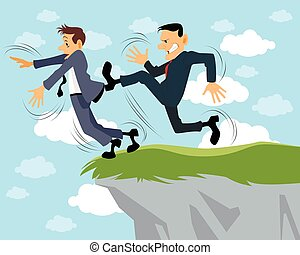 Businessman kicks another - Vector illustration of a...