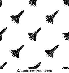 Space shuttle icon in  black style isolated on white background. Space pattern stock vector illustration.