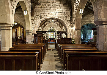 church interior showing centre isle and pews