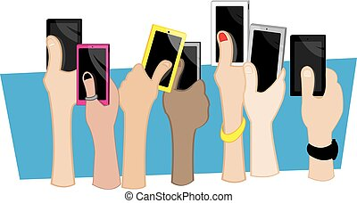 hands mobile - different hands holding mobile phones