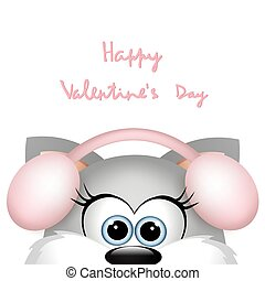 Valentines day card with funny cat.