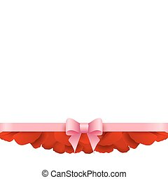 Rose Petals Border on white background. Vector.