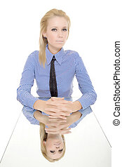 business woman isolated reflected mirror table