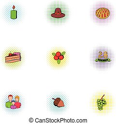 Thanksgiving day icons set, pop-art style - Thanksgiving day...