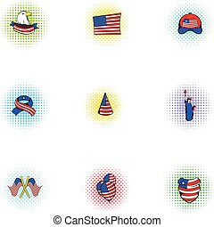 Holiday of USA icons set, pop-art style
