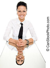 business woman mirror table reflection isolated