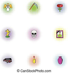 Death icons set, pop-art style - Death icons set. Pop-art...