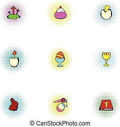 Holiday Easter icons set, pop-art style - Holiday Easter...