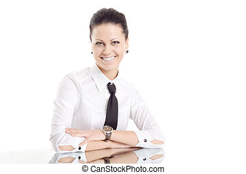 business woman mirror table smile isolated