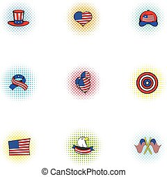 Independence day of USA icons set, pop-art style
