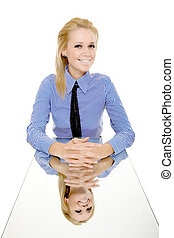 business woman reflection mirror table isolated
