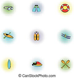 Swimming on water icons set, pop-art style
