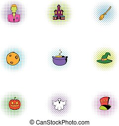 All saints day icons set, pop-art style - All saints day...