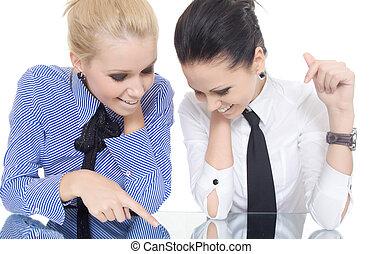 two woman pointer finger mirror smile