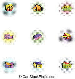 Building icons set, pop-art style - Building icons set....