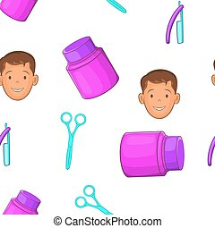 Man hairstyle pattern, cartoon style - Man hairstyle...