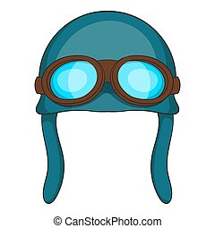 Aviation helmet icon, cartoon style - Aviation helmet icon....