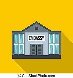 Embassy icon, flat style - Embassy icon. Flat illustration...