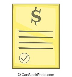 Cheque icon, cartoon style - Cheque icon. Cartoon...