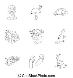 Australia icons set, outline style - Australia icons set....