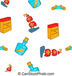 Columbus Day elements pattern, cartoon style - Columbus Day...