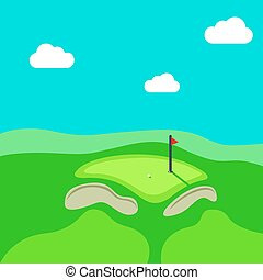 Golf hole vector green tee background illustration with...