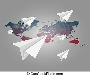 World map with paper planes vector background.