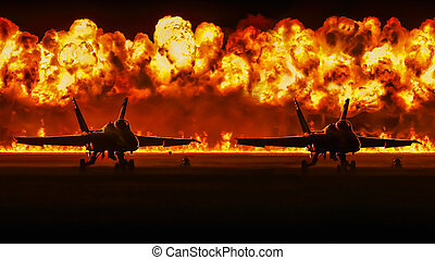 F18 Hornets and wall of flames - Two of Blue Angels F18...