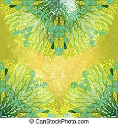 Hand drawn ethnic floral green and yellow grunge ornamental...